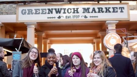 Enjoying churros at the Greenwich Market
